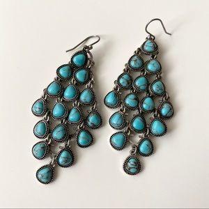 Turquoise stone layered dangle earrings!